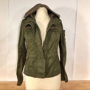 Sashimi Olive Green Military Style Hooded Jacket